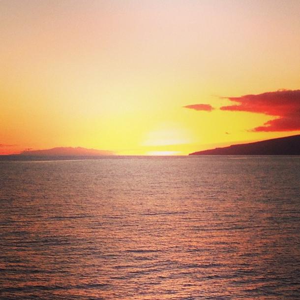 Sonnenuntergang auf dem Weg nach La Gomera
