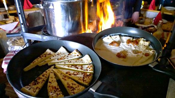 Käse mit Moltebeeren in Lappland