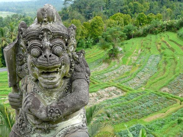 Bali - Reisfeld mit Statue
