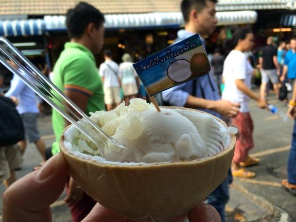 Bangkok Chatuchak Market - Coconut ice cream