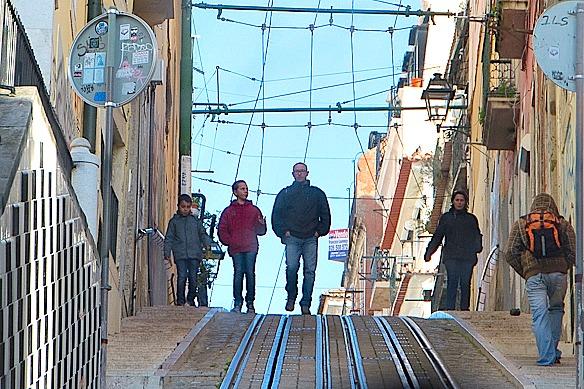 Lissabon Seilbahnschienen