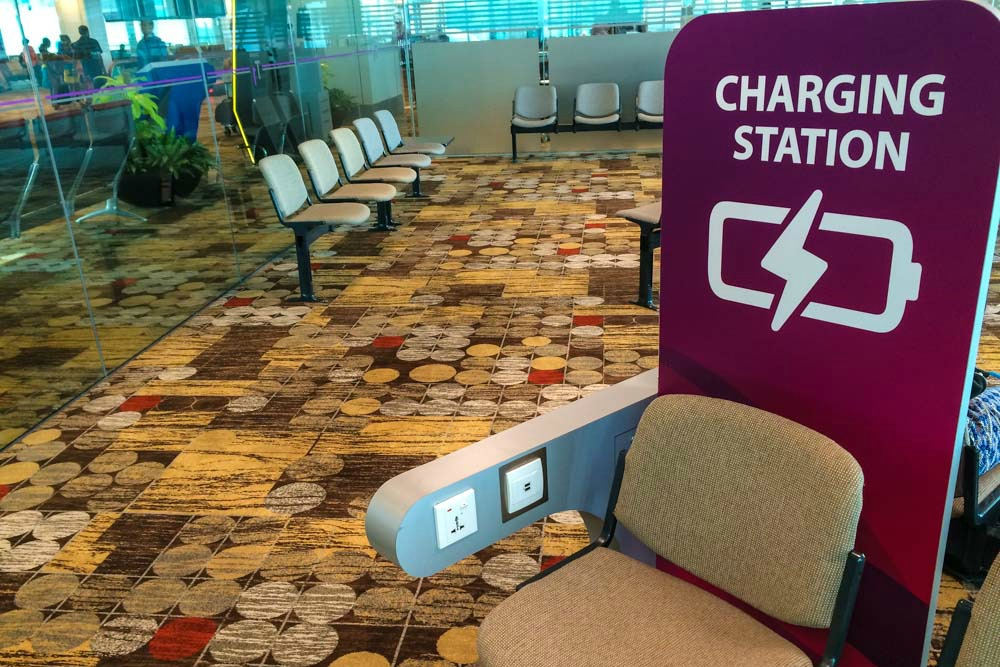 Ladestation am Flughafen Singapur