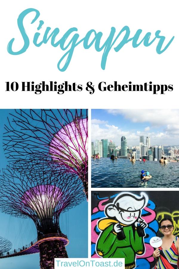 Die schönsten 10 Singapur Highlights: Die besten Sehenswürdigkeiten und Geheimtipps - etwa der höchste Infinity Pool der Welt, Gardens by the Bay, Merlion, Orchard Road, Sentosa und gigantisch gutes Essen. #Singapur #Asien #Geheimtipps #Insidertipps #Reise #Urlaub