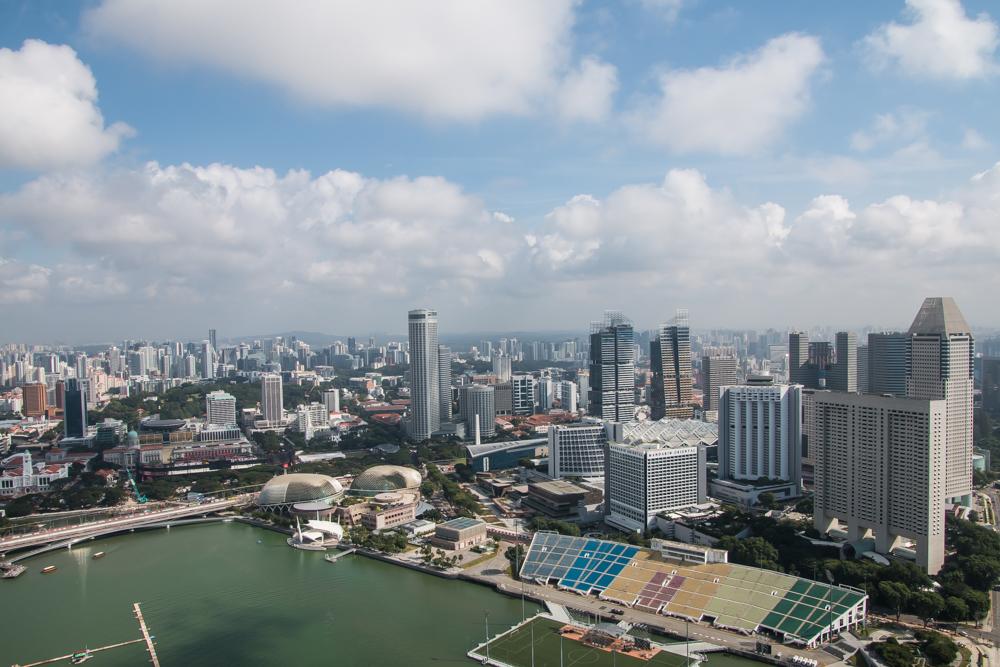 Ausblick Marina Bay Sands Hotel Singapur
