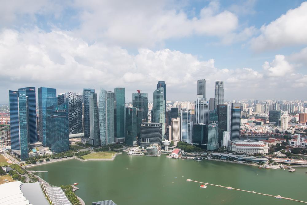 Ausblick vom Marina Bay Sands Hotel Singapur