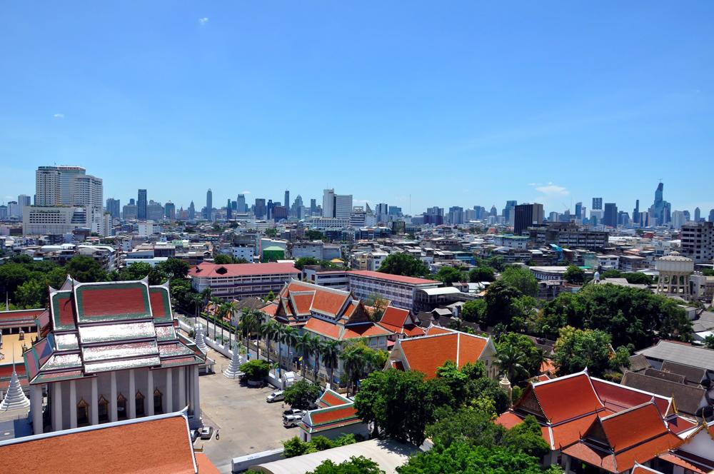 Ausblick auf Bangkok von Wat Saket