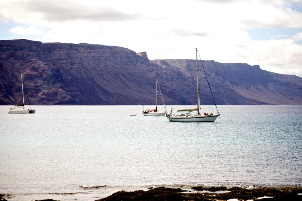 La Graciosa Meer Boote Buchten Atlantischer Ozean
