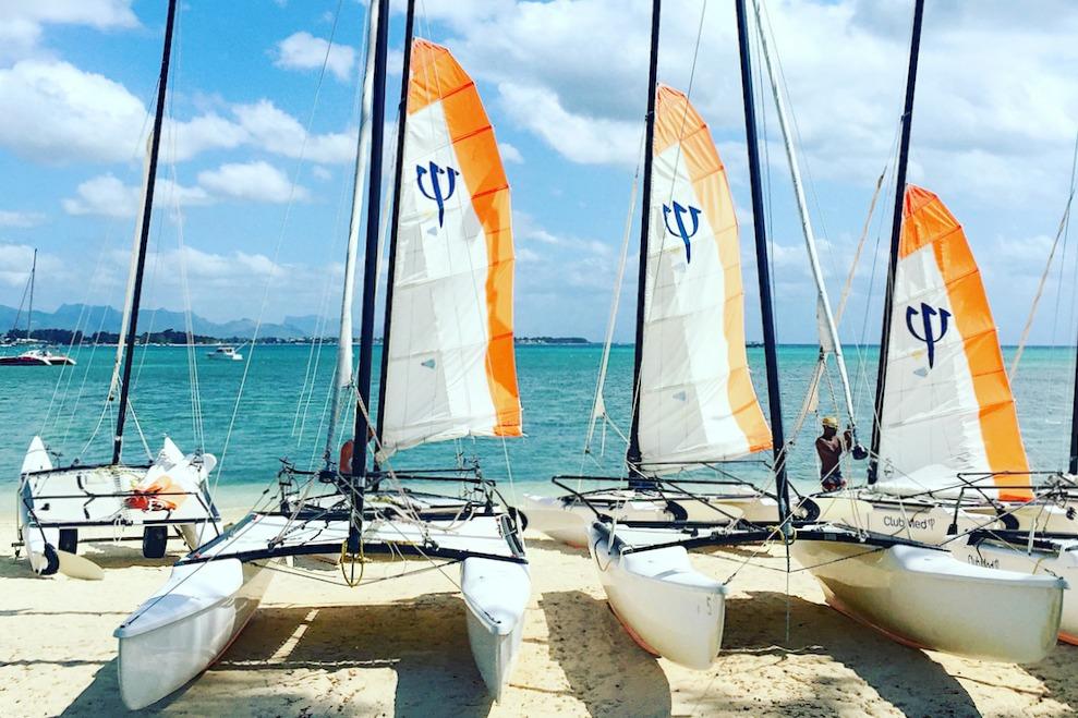 Mauritius Palmen Strand Kajak