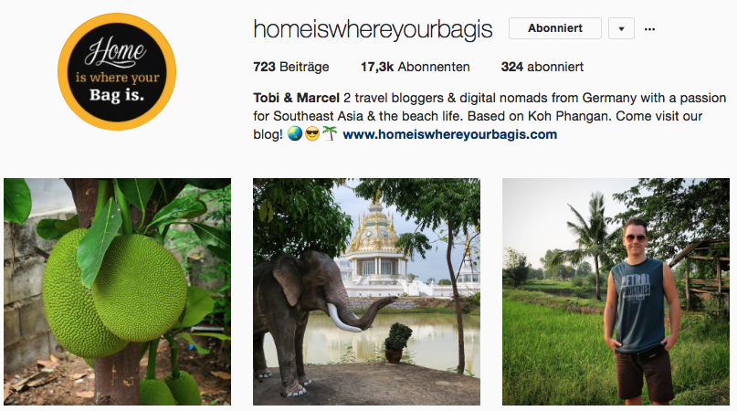 Home is where your bag is auf Instagram