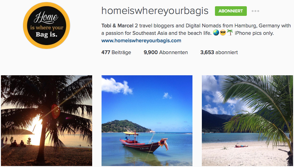 Instagram Reiseblog Home is where your bag is