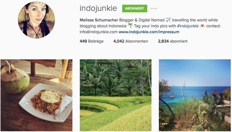 Instagram Reiseblog Indojunkie