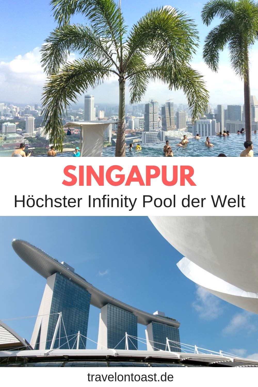Marina Bay Sands Pool: Der höchste Infinity Pool der Welt befindet sich im Marina Bay Sands Hotel, Singapur. Stell dir vor, du schwimmst in rund 200 Metern Höhe im Pool - mit Blick auf die Skyline. Hier kommen meine Singapur Bilder und alle Singapur Reisetipps zum Pool. Die besten Singapore Tipps für eure Singapur Reise! #Singapur #InfinityPool #MarinaBaySands