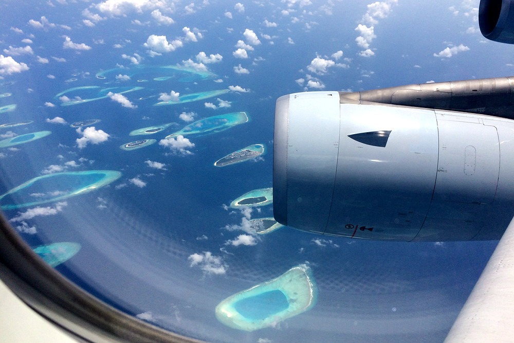Malediven Flugzeug Inseln Meer