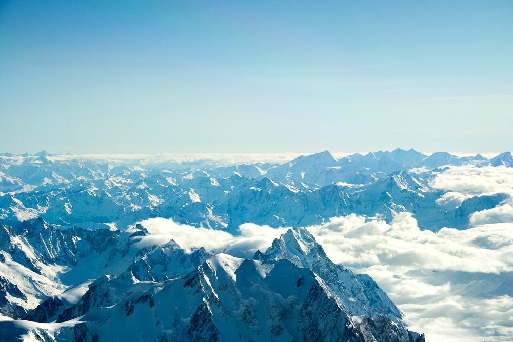 Alpen Ausblick Berge Flieger Flugzeug