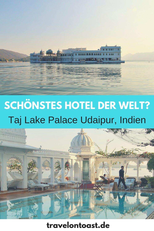Taj Lake Palace Udaipur: ein traumhaft schönes Hotel in Indien. Das Taj Lake Palace Hotel ist ein Palasthotel mitten im See, mit Blick auf die Berge und den Stadtpalast von Udaipur. Sehr romantisch und perfekt für eure Indien Reisen, Rajasthan Rundreise oder eure Udaipur Hochzeit! #LakePalace #Traumhotel #Udaipur #Rajasthan #Indien