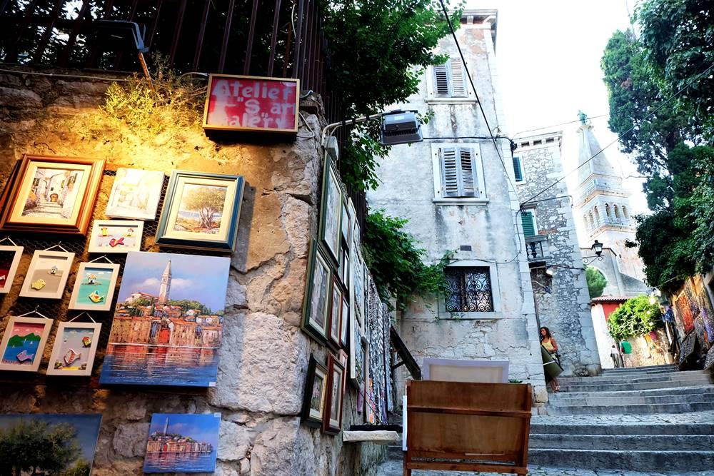 Bild 21 Gasse Rovinj Kunst Istrien Kroatien