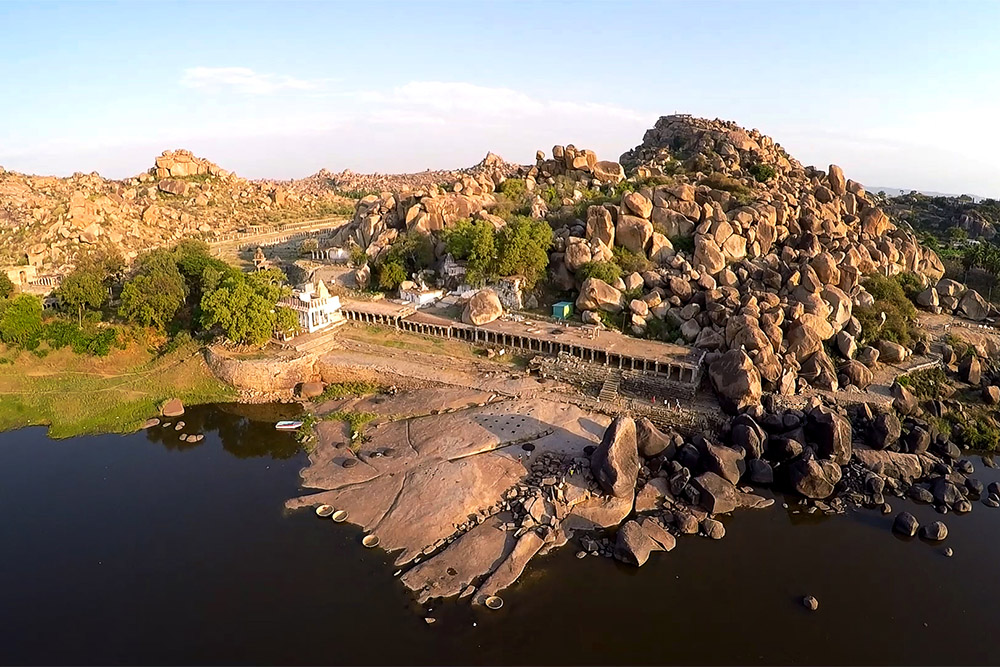 Hampi Indien Luftaufnahme Drohne
