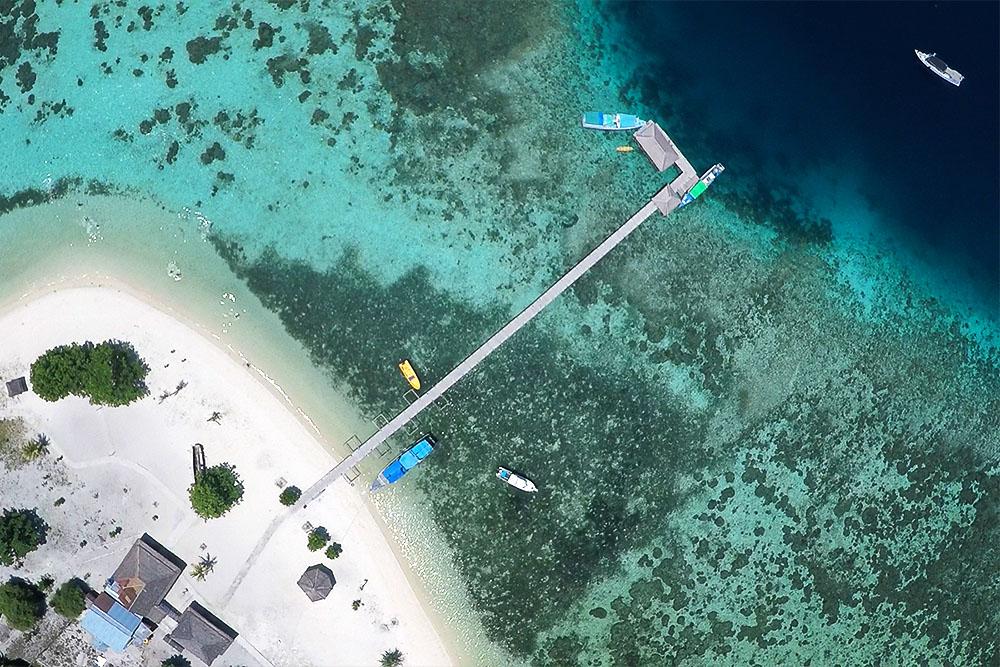 Kanawa Island Insel Strand Indonesien Luftaufnahme Drohne