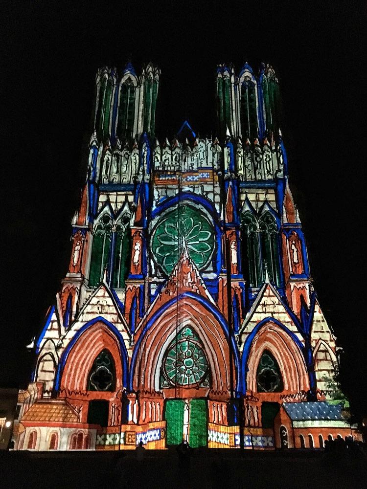 Kathedrale Reims Frankreich Lichtshow
