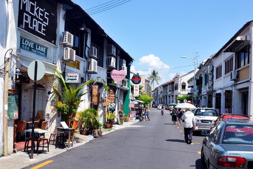 19 Love Lane George Town Straße Fußgänger Cafés Penang Malaysia