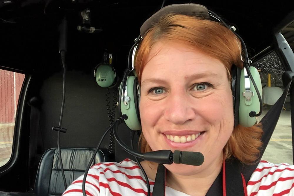 Reiseblogger Anja Beckmann beim Hubschrauber Rundflug