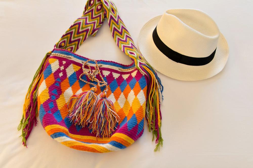 Panamahut aus Ecuador und Tasche aus Kolumbien
