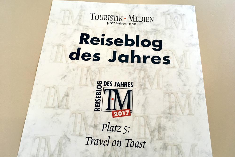 Reiseblog des Jahres 2017: Travel on Toast auf Platz 5