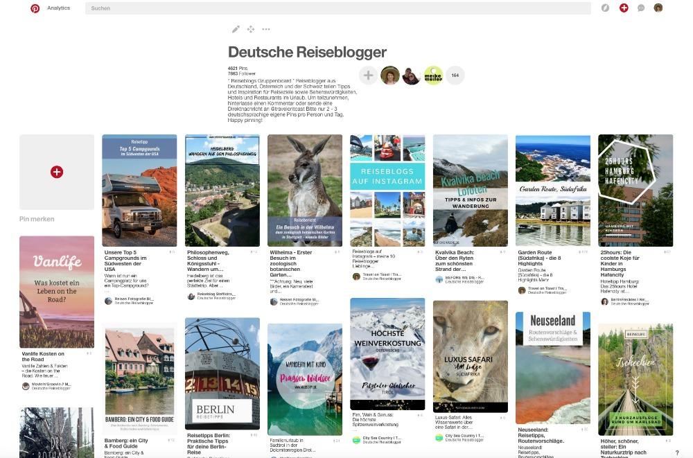 Pinterest Gruppenboard Deutsche Reiseblogger