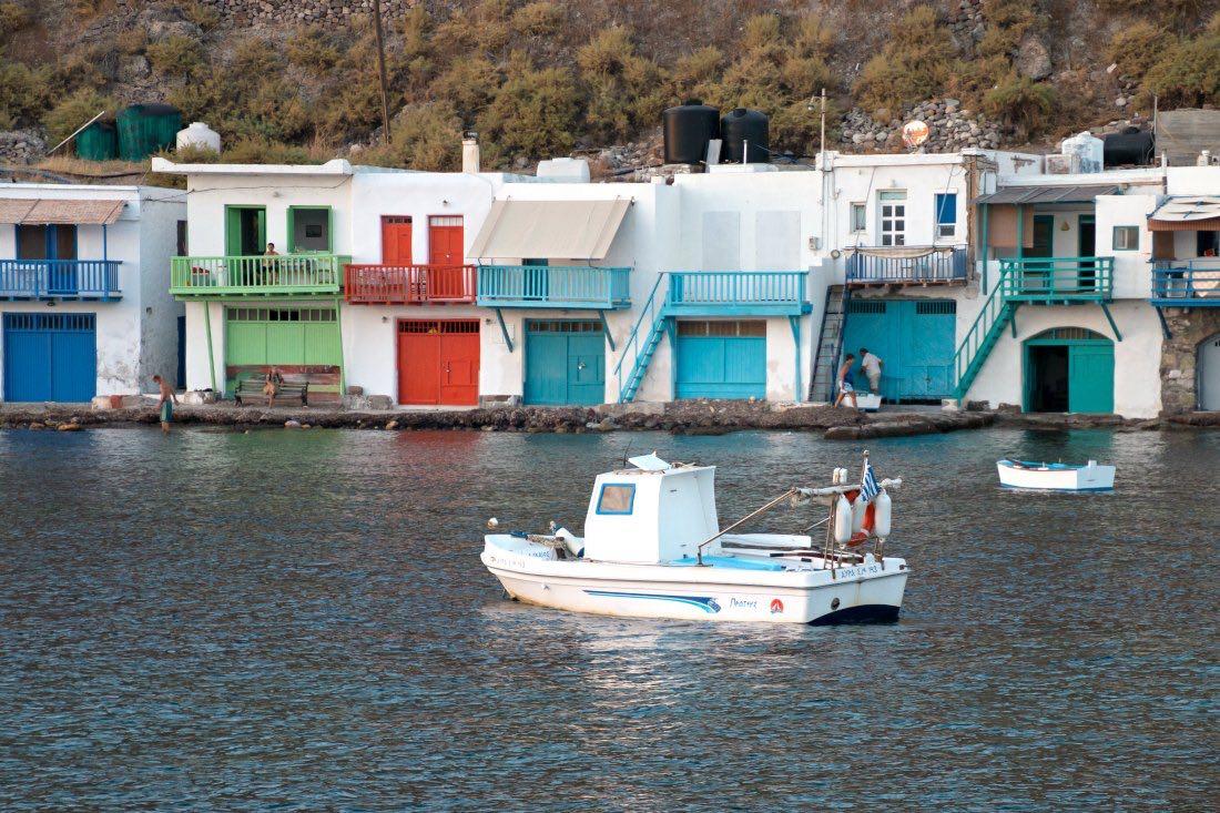 Bunte Bootshäuser in Klima