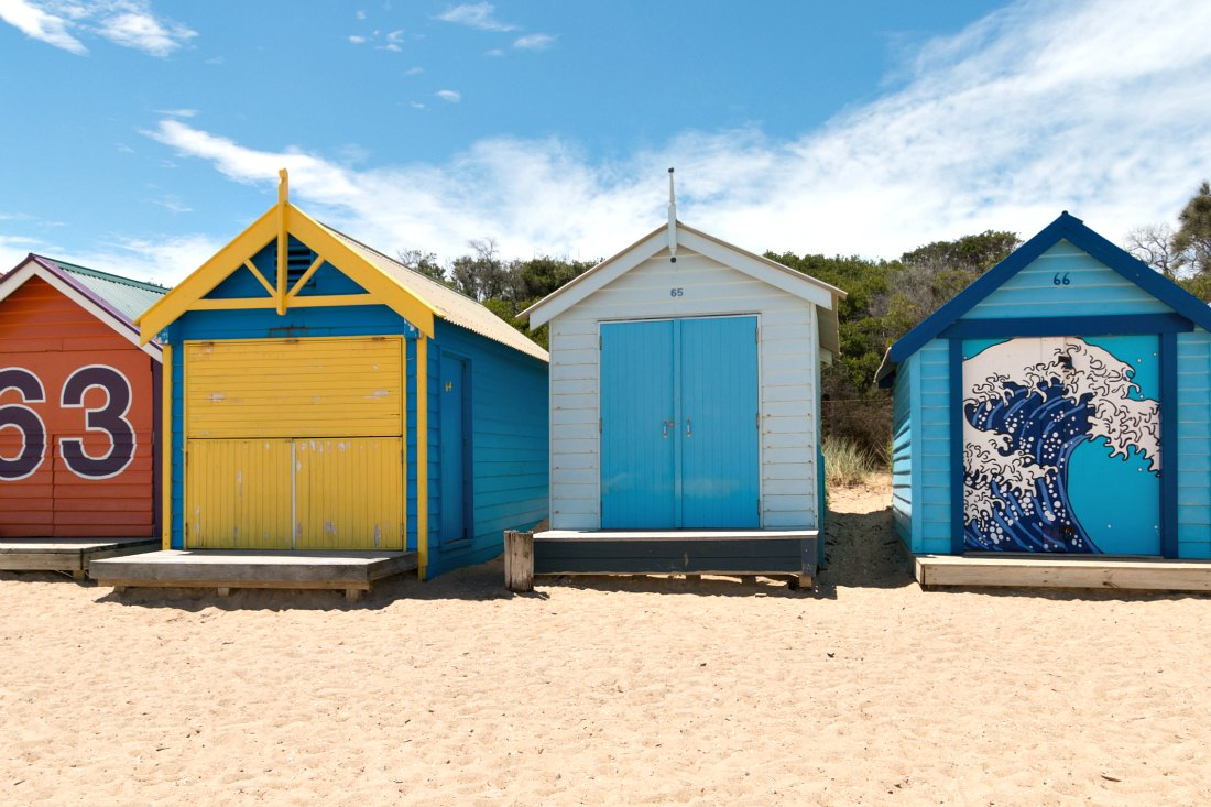Brighton Beach Boxes: Strandtag in Melbourne, Australien