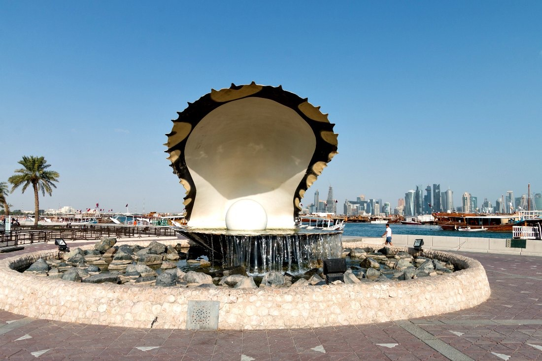 Doha Corniche Strandpromenade The Pearl Monument