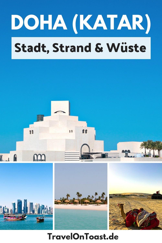 (Werbung) Doha Qatar: Katar ist das reichste Land der Welt, dort findet 2022 die Fußball WM statt. Der Katar Urlaub in der Hauptstadt Doha ist bezahlbar, es ist warm auch im Winter (ohne Jetlag) und es gibt viele Sehenswürdigkeiten und Highlights: Doha Skyline, Souq Waqif Doha Qatar, Museum für Islamische Kunst, Doha Corniche, The Pearl Monument, The Pearl Doha Qatar, Strand und Wüste. Die besten Tipps und Bilder für euren Katar Urlaub! #Doha #Katar #Qatar