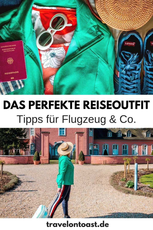 (Werbung) Reiseoutfit Flugzeug & Co.: Im Blogartikel findest du meine besten Tipps für bequeme und dabei schicke Reiseoutfits Damen. Die perfekte Reisekleidung Sommer - ob Reise Outfit Flug, Bahn, Bus oder Roadtrip. #Reiseoutfit #Reisekleidung #Checkliste