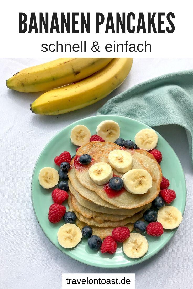 Geniales Bananen Pancakes Rezept mit nur 4 Zutaten. So zauberst du schnell und einfach gesunde Bananen Pfannkuchen ohne Ei und ohne Zucker. / vegan kochen / zuckerfreie Rezepte / ohne Zucker Rezepte / Bananen Rezept / Bananen verwerten / Bananen Pancakes vegan / Pfannkuchen Rezept #Kochen #vegan #zuckerfrei