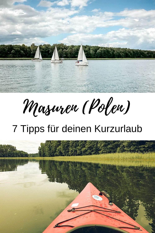 (Werbung) Hast du Lust auf Natur, Wasser und Entschleunigung? Über 2.700 Seen findest du in Masuren Polen (Mazury). Hier kannst du etwa segeln, Kajak fahren oder schwimmen. Und es gibt noch mehr Sehenswürdigkeiten und Highlights! Für ein Wochenende bin ich zur masurischen Seenplatte (Pojezierze Mazurskie) gereist. Im Reiseblog findest du meine 7 Tipps für Kurzurlaub in Masuren. / Masuren Urlaub / Polen Urlaub / Polen Reisetipps / Kurztrip Ideen / Kurzreisen Europa / Wochenendtrip / Natururlaub